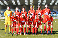 Goalkeeper Hazel Engelen (18), Stefanie Deville (3), Kenza Vrithof (9), Hanna Mylle (29), Sheila Broos (20), Marie Bougard (10), Clotilde Codden (23), Magali Dinon (6), Anouck Cochez (4), Jana Simons (8) and Selina Gijsbrechts (11) pose for the Woluwe team photo before a female soccer game between FC Femina White Star Woluwe and KRC Genk on the 17 th matchday of the 2020 - 2021 season of Belgian Scooore Womens Super League , Saturday 20 th of March 2021 in Woluwe , Belgium. PHOTO SPORTPIX.BE | SPP | JILL DELSAUX