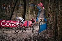 CX world champion Mathieu Van der Poel (NED/Alpecin-Fenix) leading up the Skiberg<br /> <br /> Men's Race at the X2O Herentals Cross 2020 (BEL)<br /> <br /> ©kramon
