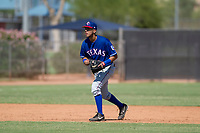 Texas Rangers shortstop Diosbel Arias (73) during an Instructional League game against the San Diego Padres on September 20, 2017 at Peoria Sports Complex in Peoria, Arizona. (Zachary Lucy/Four Seam Images)