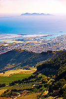 View of Trapani  and its salt pans with Favignanana Island in the distance from  Érice, Erice, Sicily stock photos.