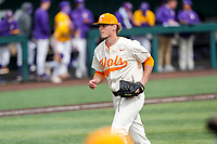 Tennessee Volunteers relief pitcher Sean Hunley (32) jogs off the field at the end of an inning against the LSU Tigers on Robert M. Lindsay Field at Lindsey Nelson Stadium on March 28, 2021, in Knoxville, Tennessee. (Danny Parker/Four Seam Images)