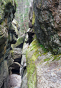 Moose Cave Gorge in Grafton Notch State Park in Newry, Maine USA during the autumn months.
