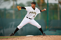 Pittsburgh Pirates pitcher Roger Santana (43) delivers a pitch during an Instructional League game against the Tampa Bay Rays on October 3, 2017 at Pirate City in Bradenton, Florida.  (Mike Janes/Four Seam Images)