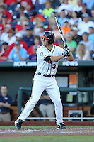 Joe McCarthy #31 of the Virginia Cavaliers bats during Game 4 of the 2014 Men's College World Series between the Virginia Cavaliers and Ole Miss Rebels at TD Ameritrade Park on June 15, 2014 in Omaha, Nebraska. (Brace Hemmelgarn/Four Seam Images)