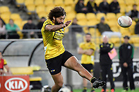 Orbyn Leger of the Hurricanes kicks the ball  during the Super Rugby - Hurricanes v Rebels at Sky Stadium, Wellington, New Zealand on Friday 21 May 2021.<br /> Photo by Masanori Udagawa. <br /> www.photowellington.photoshelter.com