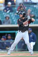 Casey McElroy #25 of the Lake Elsinore Storm bats against the Lancaster JetHawks at The Hanger on April 4, 2014 in Lancaster, California. Lake Elsinore defeated Lancaster, 6-1. (Larry Goren/Four Seam Images)