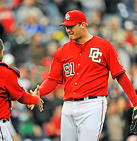 13 April 2008: Washington Nationals' pitcher Jon Rauch gets congratulated after closing out the game with a single pitch against the Atlanta Braves at Nationals Park, in Washington, DC. The Nationals ended their 9-game losing streak by defeating the Braves 5-4 in the last game of their 3-game series...Mandatory Photo Credit: Ed Wolfstein Photo