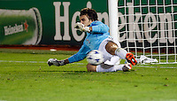 Partizan goalkeeper Vladimir Stojkovic, save the penalty,  during  UEFA Champions league match in group H FC Partizan Belgrade Vs. Arsenal, London, Serbia, Monday, Sept. 28, 2010.  (Srdjan Stevanovic/Starsportphoto.com)