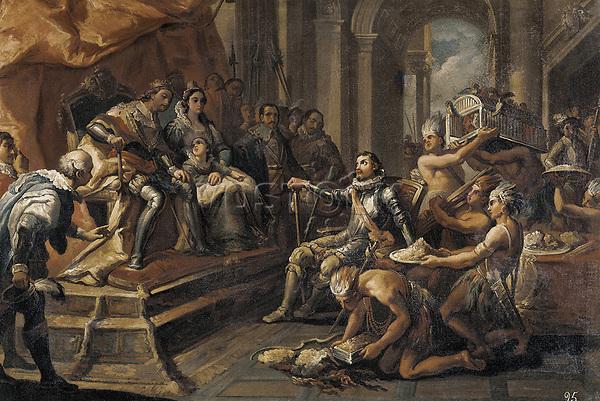 CRUA, Andrés (18th c.-19th c.). Columbus before the Catholic Monarchs. 1804. Oil on canvas. SPAIN. Valencia. San Pio V Fine Ar