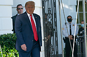 United States President Donald J. Trump walks out of the Diplomatic Entrance of the White House in Washington, DC before departing to attend a political event in Fayetteville, North Carolina on Saturday, September 19, 2020.<br /> Credit: Chris Kleponis / Pool via CNP