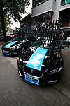 Sky Procycling team Jaguar cars and Pinarello bikes before the start of Stage 2 of the 99th edition of the Tour de France 2012, running 207.5km from Vise to Tournai, Belgium. 2nd July 2012.<br /> (Photo by Eoin Clarke/NEWSFILE)