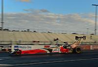 Jan. 16, 2013; Jupiter, FL, USA: NHRA top fuel dragster driver David Grubnic during testing at the PRO Winter Warmup at Palm Beach International Raceway.  Mandatory Credit: Mark J. Rebilas-