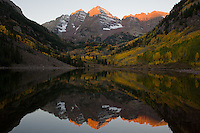 Maroon Bells autumn dawn.  This image has become a cliche, but it is such a stunning location that it is hard not to do it!<br /> <br /> Canon EOS 5D, 24-105L lens.