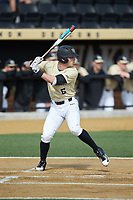 Jake Mueller (6) of the Wake Forest Demon Deacons at bat against the Louisville Cardinals at David F. Couch Ballpark on March 18, 2018 in  Winston-Salem, North Carolina.  The Demon Deacons defeated the Cardinals 6-3.  (Brian Westerholt/Four Seam Images)