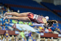 Oklahoma's Kara Lovan competes on the floor exercise during the semifinals of the NCAA women's gymnastics championships, Friday, April 17, 2015 in Fort Worth, Tex.(Mo Khursheed/TFV Media via AP Images)