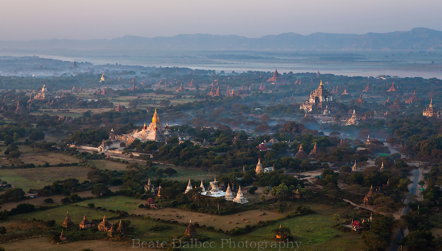 Bagan, Myanmar, as seen from a hot air balloon