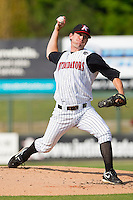 Starting pitcher Paul Burnside #43 of the Kannapolis Intimidators in action against the Greenville Drive at Fieldcrest Cannon Stadium on May 8, 2011 in Kannapolis, North Carolina.   Photo by Brian Westerholt / Four Seam Images