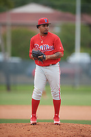 Philadelphia Phillies pitcher Ismael Cabrera (74) during a Minor League Spring Training game against the Toronto Blue Jays on March 30, 2018 at Carpenter Complex in Clearwater, Florida.  (Mike Janes/Four Seam Images)