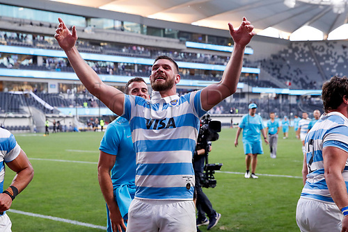 14th November 2020, Sydney, Australia;  Marcos Kremer celebrates after beating the All Blacks. Tri Nations rugby union test match,  New Zealand All Blacks versus Argentina Pumas. Bankwest Stadium, Sydney, Australia.