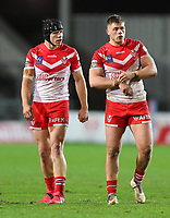 20th November 2020; Totally Wicked Stadium, Saint Helens, Merseyside, England; BetFred Super League Playoff Rugby, Saint Helens Saints v Catalan Dragons; Jonny Lomax of St Helens with team mate Morgan Knowles