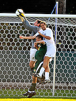 22 September 2008: University of Vermont Catamounts' goalkeeper Roger Scully, a Senior from East Lyme, CT, makes a save against the Colgate University Raiders at Centennial Field, in Burlington, Vermont. The Raiders edged out the Catamounts 2-1, handing the Soccer Catamounts their first home loss of the 2008 season. ..Mandatory Photo Credit: Ed Wolfstein Photo