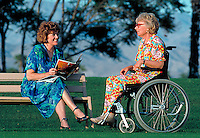 ..Disabled woman relaxes with friend. MR