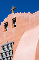 Santa Fe New Mexico First Presbyterian Church with blue sky the oldest Protestant Church in New Mexico build in 1867