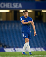 Jordan HOUGHTON of Chelsea adjusts the captains armband during the U23 Premier League 2 match between Chelsea and Derby County at Stamford Bridge, London, England on 18 August 2017. Photo by Andy Rowland.<br /> **EDITORIAL USE ONLY FA Premier League and Football League are subject to DataCo Licence.