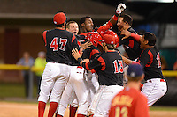 Batavia Muckdogs players mob Javier Lopez (35 - arm up) after a walk off hit during a game against the State College Spikes on June 29, 2013 at Dwyer Stadium in Batavia, New York.  Batavia defeated State College 5-4.  (Mike Janes/Four Seam Images)