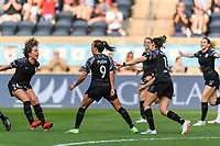 BRIDGEVIEW, IL - JULY 18: Mallory Pugh #9 of the Chicago Red Stars celebrates her goal during a game between OL Reign and Chicago Red Stars at SeatGeek Stadium on July 18, 2021 in Bridgeview, Illinois.