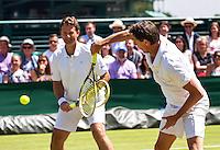 London, England, 6 th July, 2016, Tennis, Wimbledon,  Gentelmen's Senior Invitational Doubles, Jacco Eltingh (NED) and Paul Haarhuis (NED) (R)<br /> Photo: Henk Koster/tennisimages.com