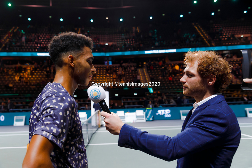 Rotterdam, The Netherlands, 14 Februari 2020, ABNAMRO World Tennis Tournament, Ahoy,   Felix Auger-Aliassime (CAN) celebrates his win.<br /> Photo: www.tennisimages.com