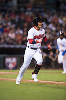 AFL West second baseman Yu Chang (9), of the Glendale Desert Dogs and Cleveland Indians organization, runs to first base during the Fall Stars game at Surprise Stadium on November 3, 2018 in Surprise, Arizona. The AFL West defeated the AFL East 7-6 . (Zachary Lucy/Four Seam Images)