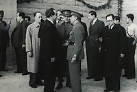 SPAIN. Barcelona. Spanish Civil War (1936-1939). President Juan Negrín talking to the commissars of the International Brigades