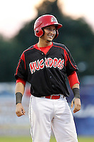 Batavia Muckdogs catcher Juan Castillo #35 during the second game of a doubleheader against the Mahoning Valley Scrappers at Dwyer Stadium on August 22, 2011 in Batavia, New York.  Mahoning Valley defeated Batavia 11-3.  (Mike Janes/Four Seam Images)