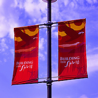 """Building the Spirit"" Banners mounted on a Street Light Pole, Squamish, BC, British Columbia, Canada"