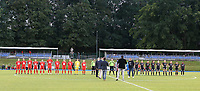 Woluwe and Essevee players pictured during line up at the start of a female soccer game between FC Femina White Star Woluwe and Dames Zulte Waregem  on the first matchday of the 2020 - 2021 season of Belgian Women's SuperLeague , Friday 28 of August 2020  in Sint Lambrechts Woluwe , Belgium . PHOTO SPORTPIX.BE | SPP | SEVIL OKTEM