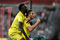 15th March 2021; Bankwest Stadium, Parramatta, New South Wales, Australia; A League Football, Western Sydney Wanderers versus Wellington Phoenix; Tomer Hemed of Wellington Phoenix celebrates with Charles Lokoli Ngoy but his goal is disallowed for offside