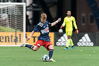 FOXBOROUGH, UNITED STATES - MAY 28: Sean O'Hearn #40 of New England Revolution II passes the ball during a game between Fort Lauderdale CF and New England Revolution II at Gillette Stadium on May 28, 2021 in Foxborough, Massachusetts.