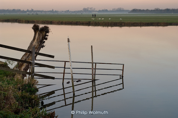The River Thames and Port Meadow, Oxford, at dusk