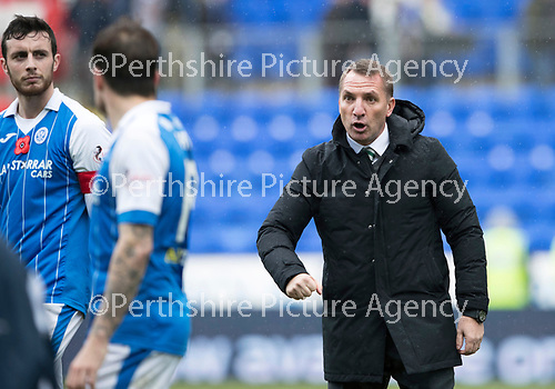 St Johnstone v Celtic…04.11.17…  McDiarmid Park…  SPFL<br />Celtic manager Brendan Rodgers has words with Paul Paton at full time<br />Picture by Graeme Hart. <br />Copyright Perthshire Picture Agency<br />Tel: 01738 623350  Mobile: 07990 594431