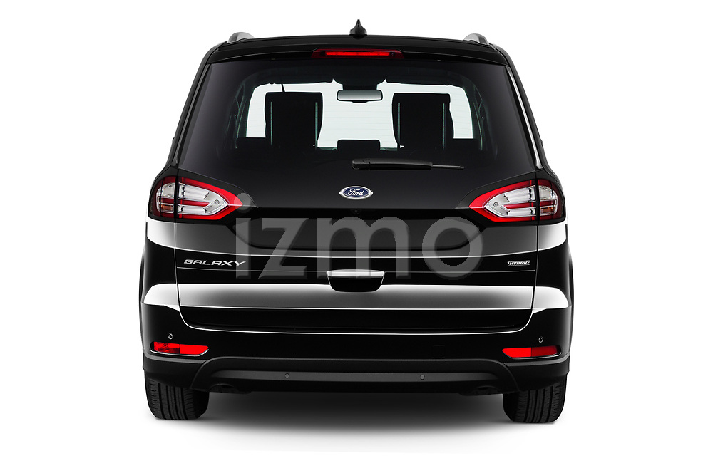 Straight rear view of 2021 Ford Galaxy Titanium 5 Door Minivan Rear View  stock images