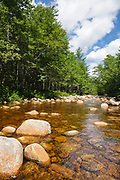 North Fork East Branch Pemigewasset River in the Pemigewasset Wilderness of Lincoln, New Hampshire USA during the summer months.