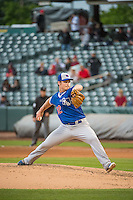 Matt West (32) of the Oklahoma City Dodgers delivers a pitch to the plate against the Salt Lake Bees in Pacific Coast League action at Smith's Ballpark on May 27, 2015 in Salt Lake City, Utah.  (Stephen Smith/Four Seam Images)