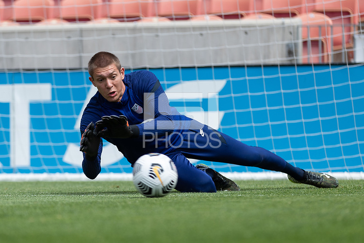 SANDY, UT - JUNE 8: Ethan Horvath makes the save during a training session at Rio Tinto Stadium on June 8, 2021 in Sandy, Utah.