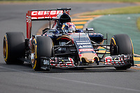 March 14, 2015: Max Verstappen (NDL) #33 from the Scuderia Toro Rosso team rounds turn two during qualification at the 2015 Australian Formula One Grand Prix at Albert Park, Melbourne, Australia. Photo Sydney Low
