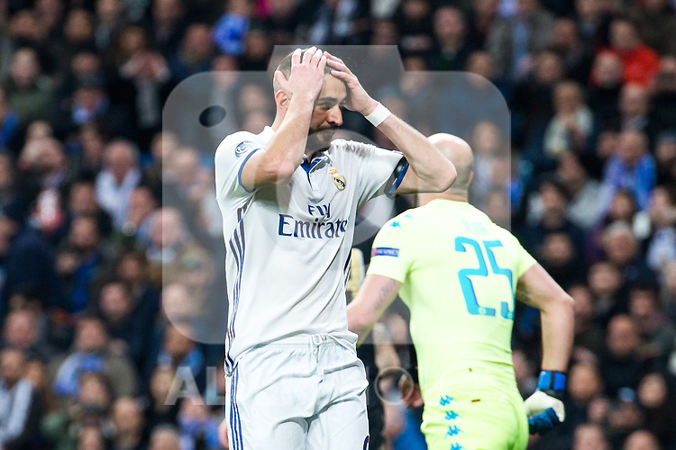 Karim Benzema of Real Madrid reacts during the match of Champions League between Real Madrid and SSC Napoli  at Santiago Bernabeu Stadium in Madrid, Spain. February 15, 2017. (ALTERPHOTOS)