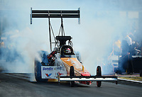 Apr. 27, 2012; Baytown, TX, USA: NHRA top fuel dragster driver Clay Millican during qualifying for the Spring Nationals at Royal Purple Raceway. Mandatory Credit: Mark J. Rebilas-