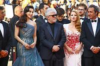 Pedro ALMODÓVAR, Jessica CHASTAIN, FAN Bingbing et Paolo SORRENTINO, la derniere montée pour la Palme d'Or, soixante-dixième (70ème) Festival du Film à Cannes, Palais des Festivals et des Congres, Cannes, Sud de la France, dimanche 28 mai 2017.
