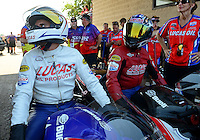 Jul. 1, 2012; Joliet, IL, USA: NHRA pro stock motorcycle rider Hector Arana Jr (left) with father Hector Arana Sr during the Route 66 Nationals at Route 66 Raceway. Mandatory Credit: Mark J. Rebilas-
